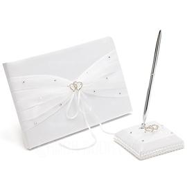 Hermoso Diamantes de imitación/Arco/Corazones Dobles Libro de visitas & sistema de la pluma (101018137)