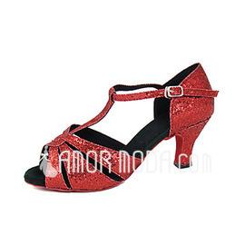 Vrouwen Stof Sprankelende Glitter Hakken sandalen Latijn met T-Riempjes Dansschoenen (053013369)