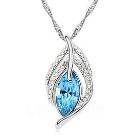 Schöne Legierung mit Kristall Damen Halsketten (011051779)
