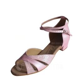 Frauen Kinder Kunstleder Funkelnde Glitzer Sandalen Flache Schuhe Latin mit Knöchelriemen Tanzschuhe (053013007)