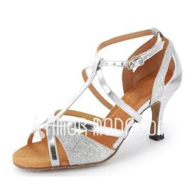 Frauen Funkelnde Glitzer Lackleder Heels Sandalen Latin mit T-Riemen Tanzschuhe (053020378)