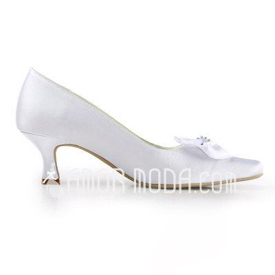 Vrouwen Satijn Chunky Heel Closed Toe Pumps met Strik Strass (047011892)