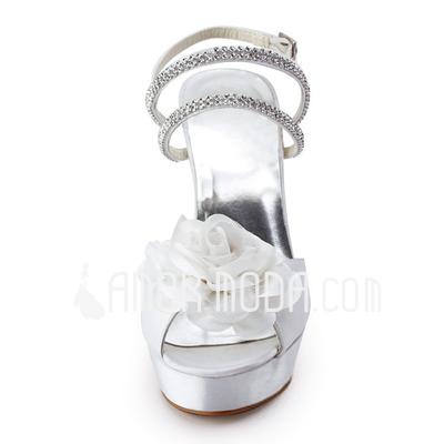 Vrouwen Satijn Stiletto Heel Peep Toe Plateau Sandalen met Kralen Satijnen Bloem (047011803)