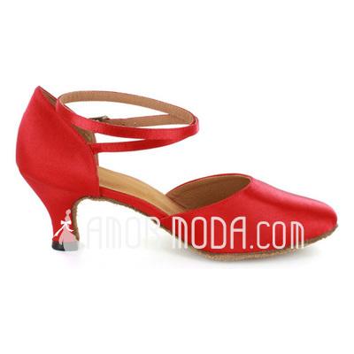 Frauen Satin Heels Absatzschuhe Moderne mit Knöchelriemen Tanzschuhe (053021520)