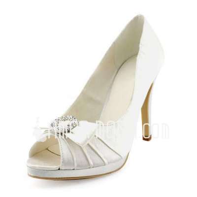 Vrouwen Satijn Stiletto Heel Peep Toe Plateau Pumps Sandalen met Strik Bergkristal (047011899)