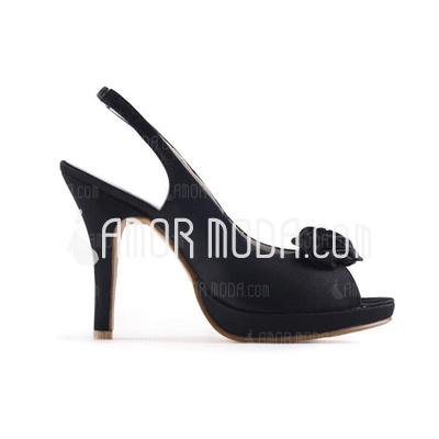 Vrouwen Satijn Stiletto Heel Peep Toe Sandalen met Satijnen Strik (047011041)