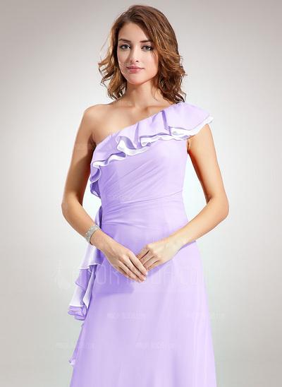 A-Linie/Princess-Linie One-Shoulder-Träger Bodenlang Chiffon Brautjungfernkleid mit Gestufte Rüschen (008005664)
