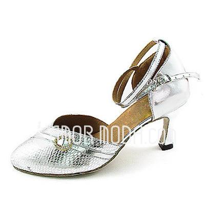 Vrouwen Imitatieleer Sprankelende Glitter Hakken Pumps Ballroom met Bergkristal Enkelriempje Dansschoenen (053013342)