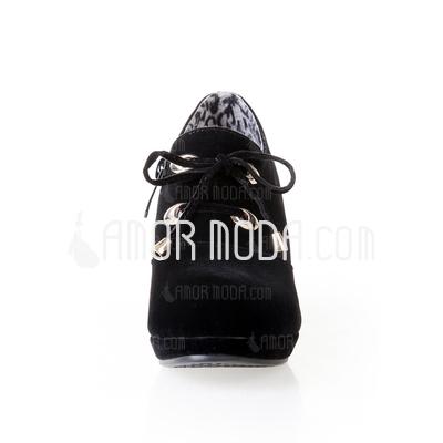 Kunstleder Kegel Absatz Stiefelette mit Geflochtenes Band Schuhe (088033088)