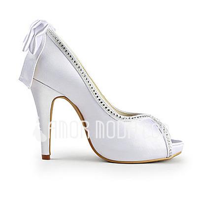 Frauen Satiniert Kegel Absatz Peep Toe Plateauschuh Sandalen mit Flakem Straß (047015219)