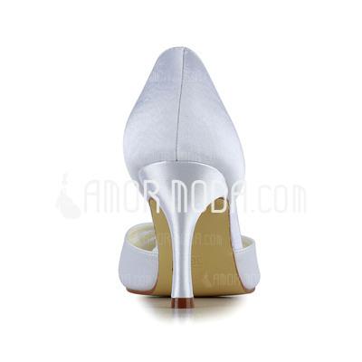 Vrouwen Satijn Stiletto Heel Peep Toe sandalen met Bergkristal (047011061)
