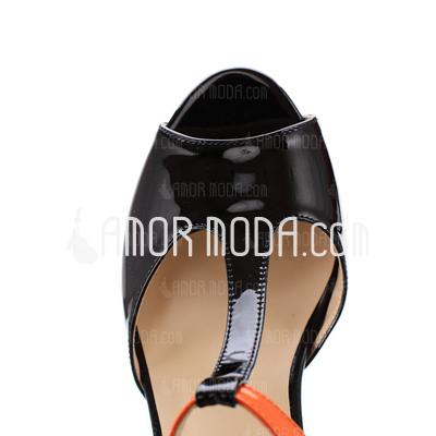 Lackleder Kegel Absatz Sandalen Plateauschuh Peep Toe mit Zweiteiliger Stoff Schuhe (087026045)
