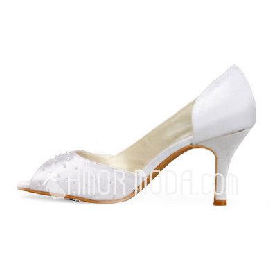 Frauen Satiniert Stöckel Absatz Peep Toe Sandalen mit Perlen (047011891)