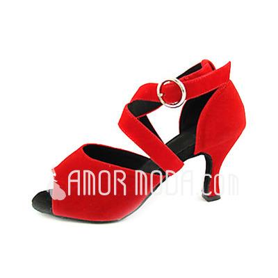 Vrouwen Stof Fluweel Hakken sandalen Latijn Ballroom Dansschoenen (053013174)