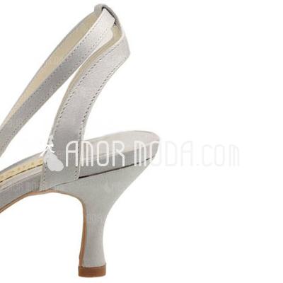 Vrouwen Satijn Spool Hak Closed Toe Pumps Slingbacks met Stitching Lace (047010766)