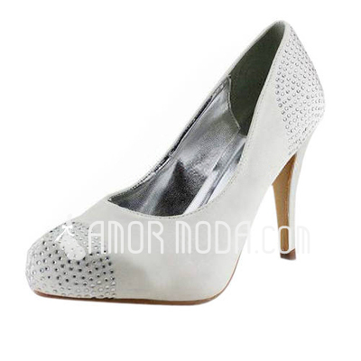 Vrouwen Satijn Stiletto Heel Closed Toe Plateau Pumps met Strass (047011879)