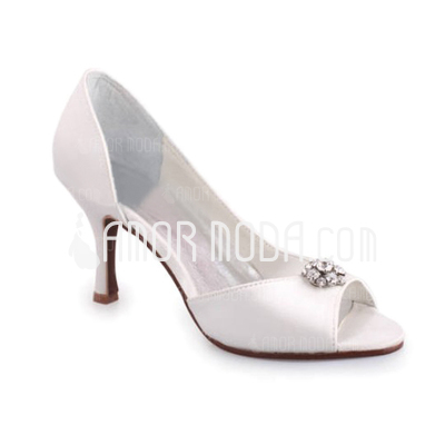 Vrouwen Satijn Stiletto Heel Peep Toe Sandalen met Bergkristal (047010765)
