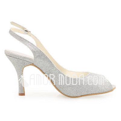 Vrouwen Sprankelende Glitter Stiletto Heel Peep Toe Sandalen Slingbacks (047011896)