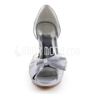 Vrouwen Satijn Sprankelende Glitter Cone Heel Peep Toe Plateau Sandalen met Strik Sprankelende Glitter (047010769)