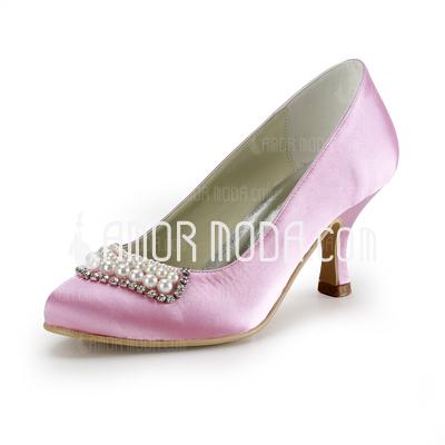 Frauen Satiniert Niederiger Absatz Geschlossene Zehe Absatzschuhe mit Perlen Synthetischen Perlen Straß (047020193)