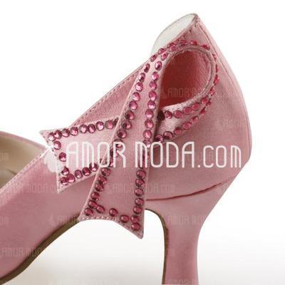 Vrouwen Satijn Stiletto Heel Peep Toe Sandalen met Strik Strass (047005397)