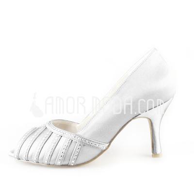 Vrouwen Satijn Stiletto Heel Peep Toe Sandalen (047005547)