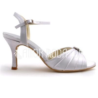 Frauen Satiniert Stöckel Absatz Absatzschuhe Sandalen mit Schnalle Strass (047039712)