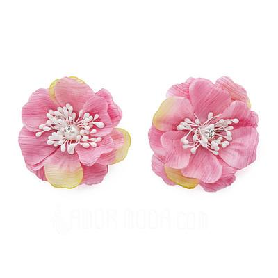 Glamourös Kunstseide/Tüll Blumen und Federn (042051826)