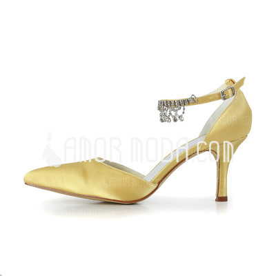 Vrouwen Satijn Stiletto Heel Closed Toe Pumps met Buckle Bergkristal (047011047)