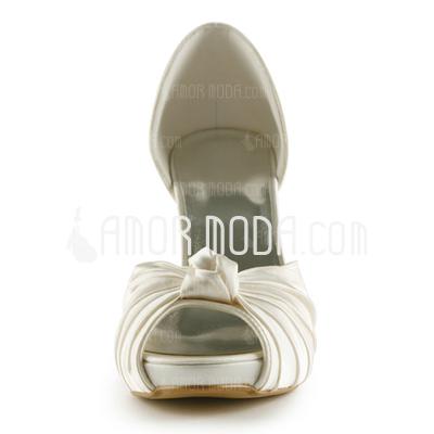 Frauen Satiniert Kegel Absatz Peep Toe Plateauschuh Sandalen mit Flakem (047005429)