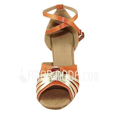 Vrouwen Satijn Patent Leather Hakken sandalen Latijn met Enkelriempje Dansschoenen (053013363)