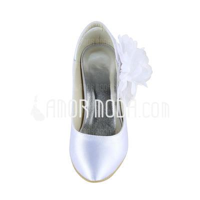 Frauen Satiniert Spule Absatz Geschlossene Zehe Absatzschuhe mit Blumen (047036487)
