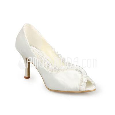 Vrouwen Satijn Spool Hak Peep Toe Sandalen met Stitching Lace (047011050)
