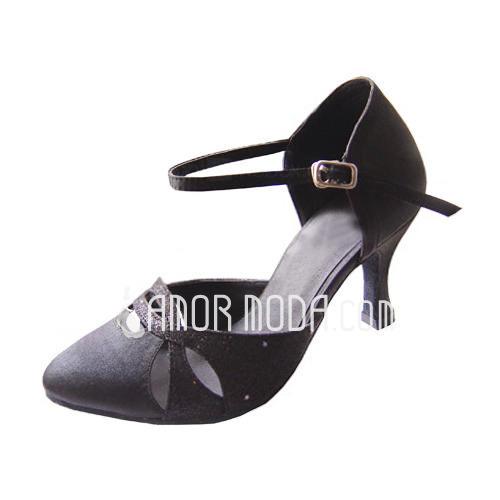 Vrouwen Satijn Sprankelende Glitter Hakken Pumps Moderne met Enkelriempje Dansschoenen (053013014)
