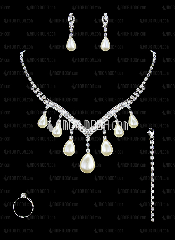Gorgeous Alloy/Pearl With Rhinestone Ladies' Jewelry Sets (011016819)