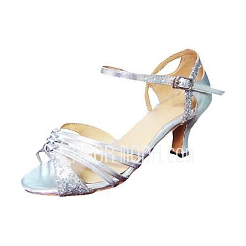 Vrouwen Kunstleer Sprankelende Glitter Hakken Sandalen Latijn met Gesp Dansschoenen (053013276)