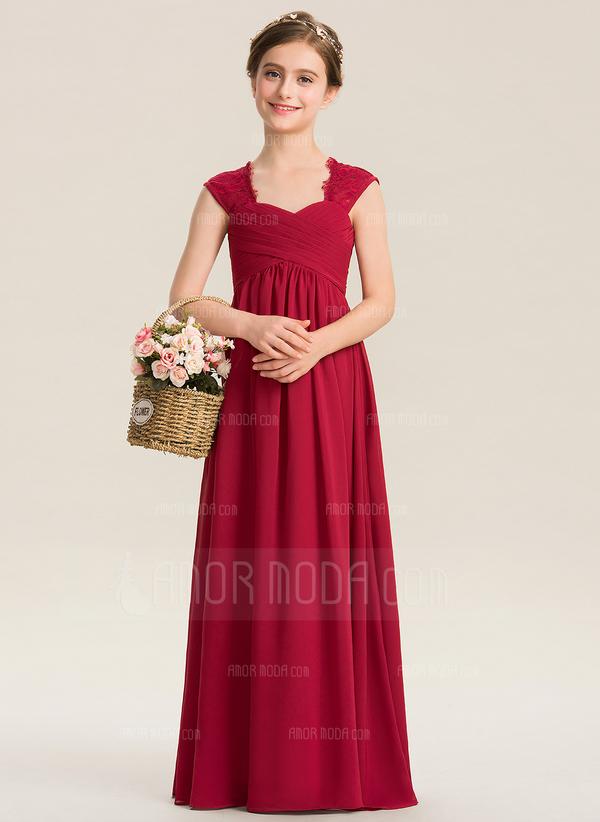 Empire-Linie Schatz Bodenlang Chiffon Spitze Kleid für junge Brautjungfern mit Rüschen (009173278)