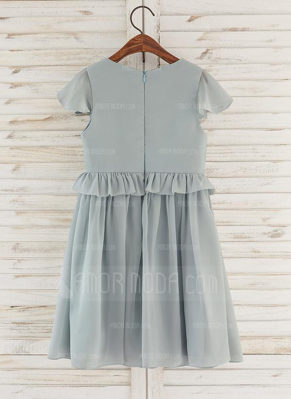 A-Line Knee-length Flower Girl Dress - Chiffon Sleeveless V-neck With Ruffles (010172335)