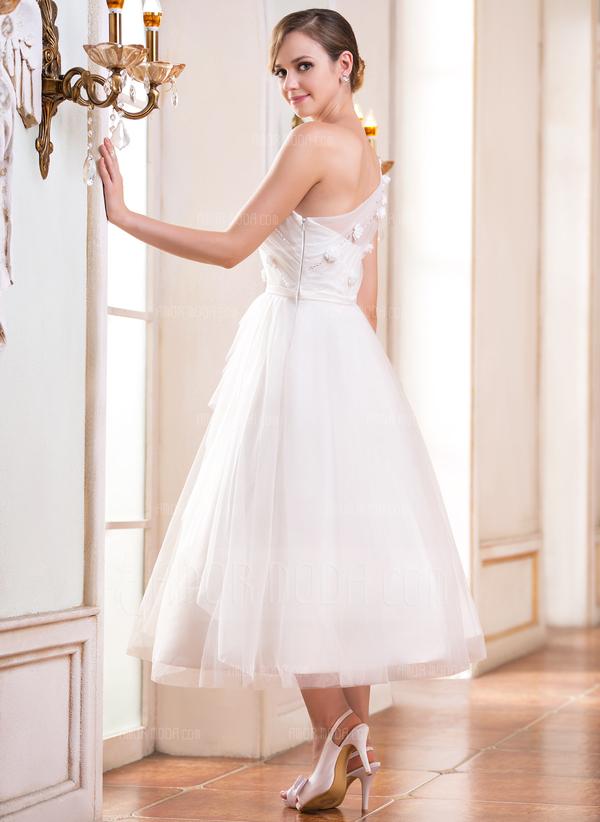 Corte A/Princesa Un hombro Hasta la tibia Tul Vestido de novia con Volantes Cuentas Flores Lentejuelas (002047393)