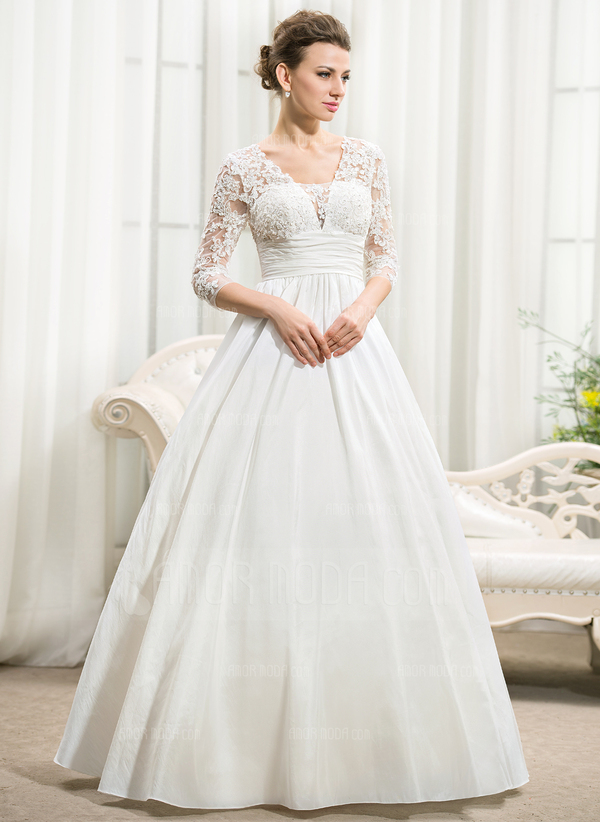 Duchesse-Linie V-Ausschnitt Bodenlang Taft Brautkleid mit Rüschen Perlstickerei Pailletten (002056594)