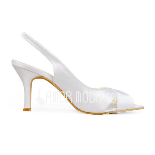Vrouwen Satijn Stiletto Heel Peep Toe Sandalen Slingbacks (047011869)