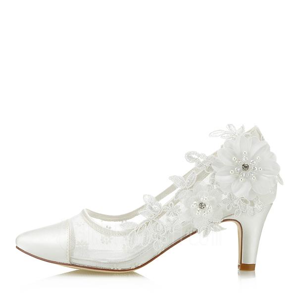 Vrouwen Satijn Mesh Stiletto Heel Closed Toe (047182237)