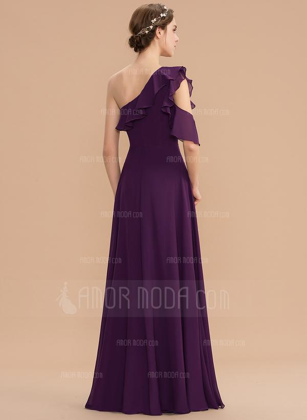 A-Linjainen Yksiolkaiminen Lattiaa hipova pituus Sifonki Morsiusneitojen mekko jossa Laskeutuva röyhelö (007165852)