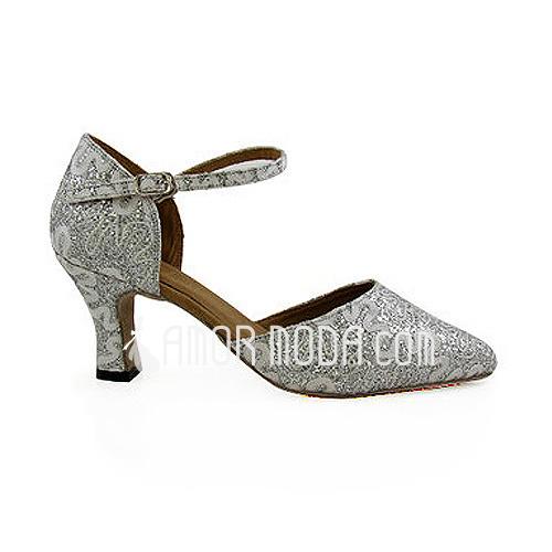 Vrouwen Sprankelende Glitter Hakken Pumps Moderne met Enkelriempje Dansschoenen (053013026)