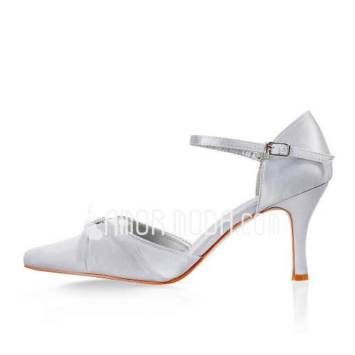 Vrouwen Satijn Stiletto Heel Closed Toe met Buckle Bergkristal (047011835)