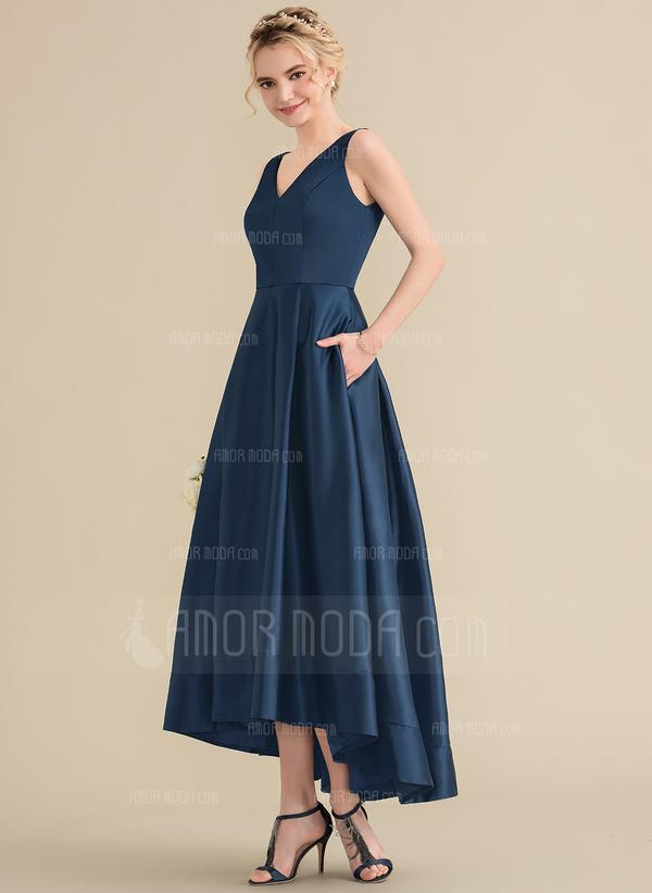A-Linie/Princess-Linie V-Ausschnitt Asymmetrisch Satin Abiballkleid mit Taschen (018157165)