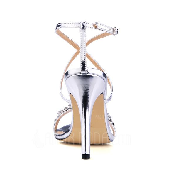 frauen lackleder st ckel absatz sandalen slingpumps mit. Black Bedroom Furniture Sets. Home Design Ideas