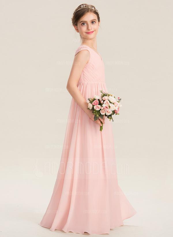 A-Line V-neck Floor-Length Chiffon Lace Junior Bridesmaid Dress With Ruffle (009173313)