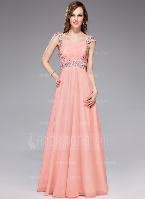 A-Linie/Princess-Linie Herzausschnitt Bodenlang Chiffon Abendkleid mit Rüschen Perlen verziert Pailletten (018047242)