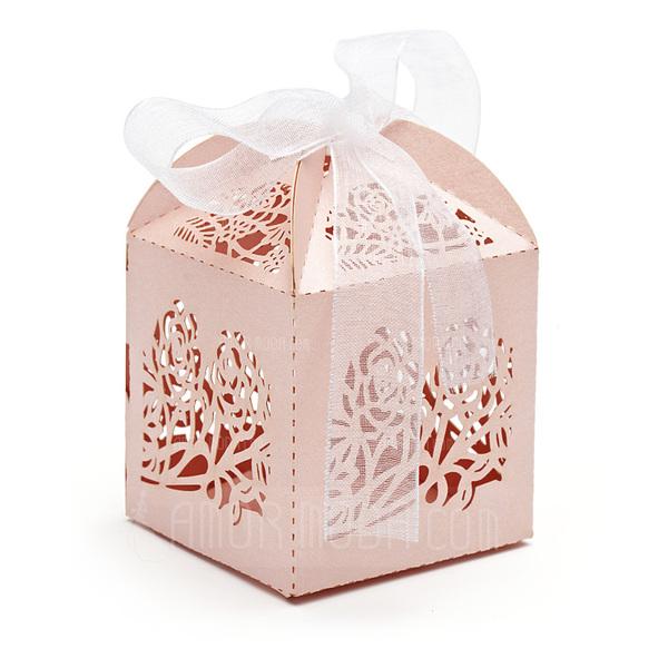 Blumen Silhouette Quader Geschenkboxen mit Bänder (Satz von 12) (050032984)